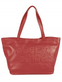 Sac See By Chloe cabas Zip file leather rouge